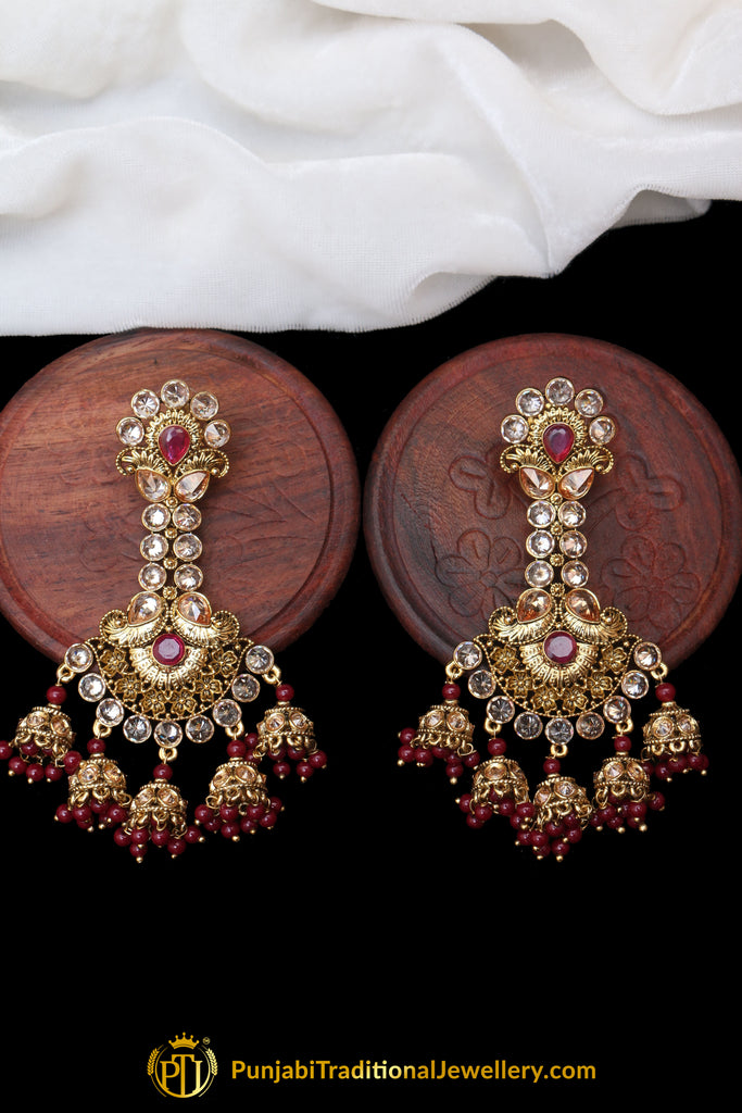Maroon Champagne Stone Earrings By Punjabi Traditional Jewellery