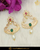 Gold Finished Green Red Jercon Pearl Earrings | Punjabi Traditional Jewellery Exclusive