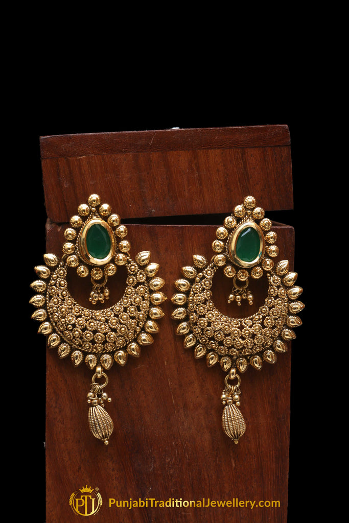 Green Polki Antique Gold Earrings By Punjabi Traditional Jewellery