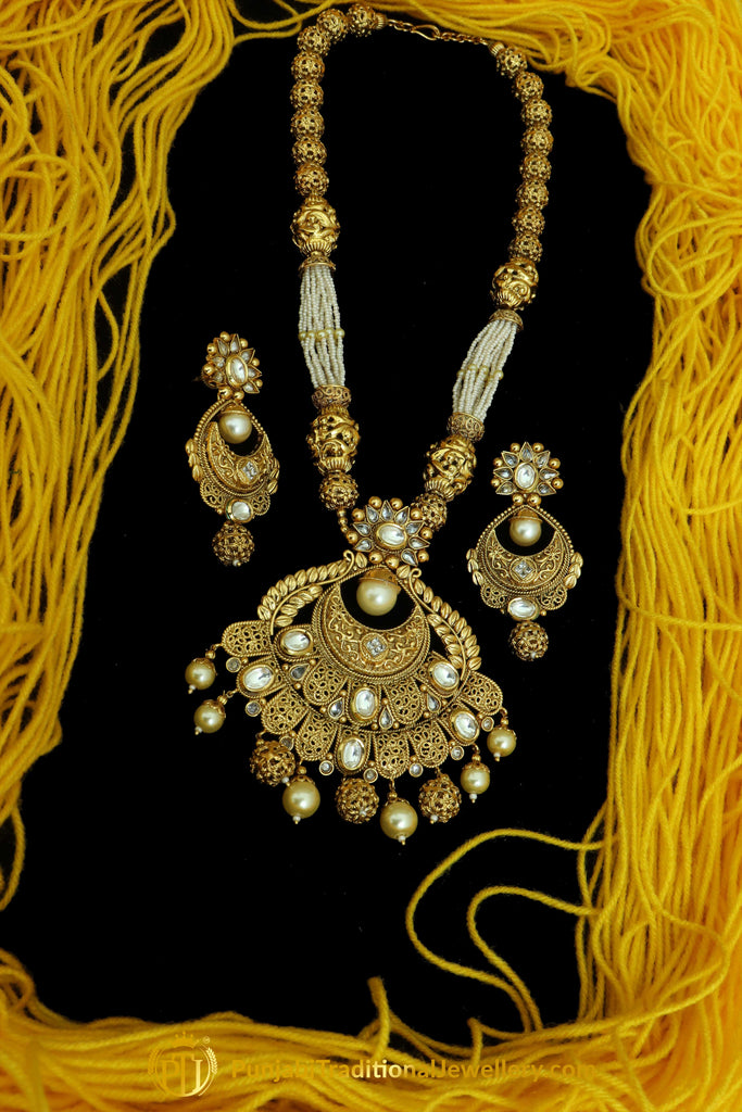 Golden Jodha Necklace Set By Punjabi Traditional Jewellery