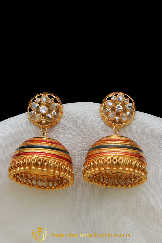 Gold Finished Blue Rubby Jhumki American Diamond Earrings By Punjabi Traditional Jewellery