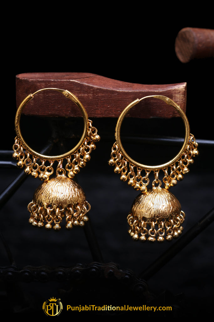 Antique Gold, Bali & Jhumki Earrings By Punjabi Traditional Jewellery