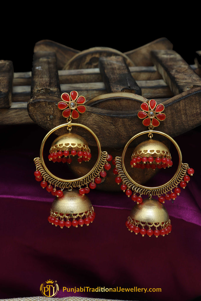 Red Gold Plated Earrings By Punjabi Traditional Jewellery