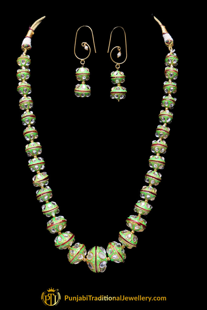 Green Red Polki Mala Necklace Set By Punjabi Traditional Jewellery