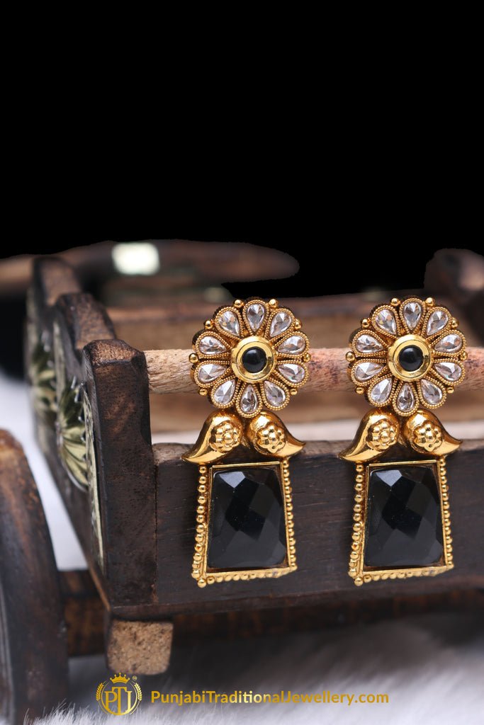 Blue Antique Gold & Polki Earrings By Punjabi Traditional Jewellery