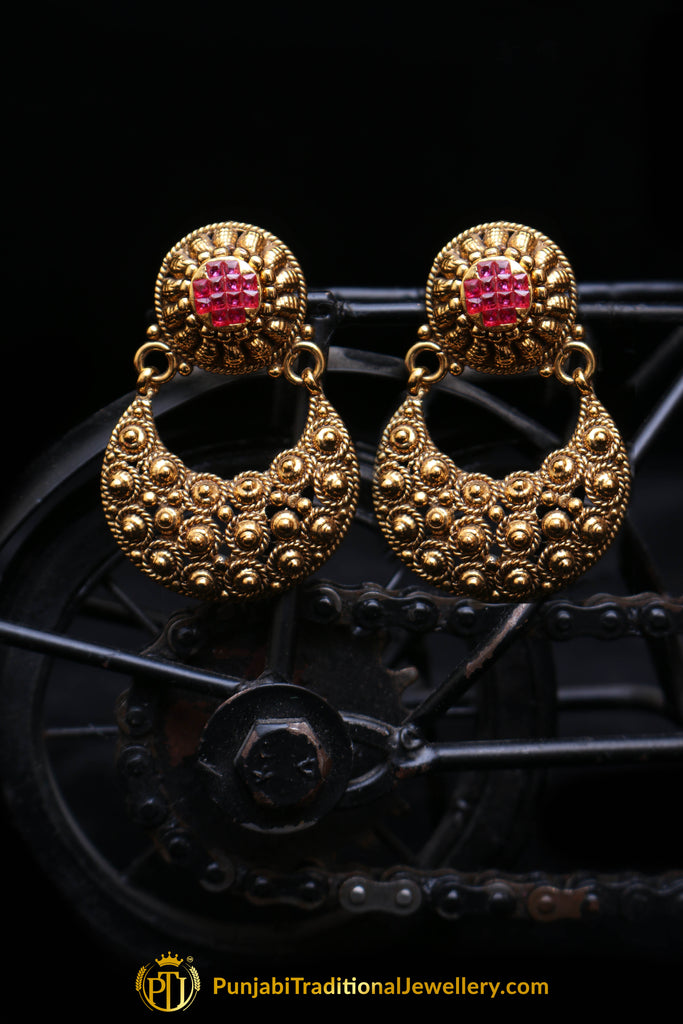 Antique Gold Rubby Earrings By Punjabi Traditional Jewellery