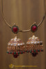 Green Red Pearl, Jhumki & Polki Earrings By Punjabi Traditional Jewellery