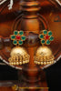 Gold Finished Emerald Rubby Jhumki Earrings By Punjabi Traditional Jewellery