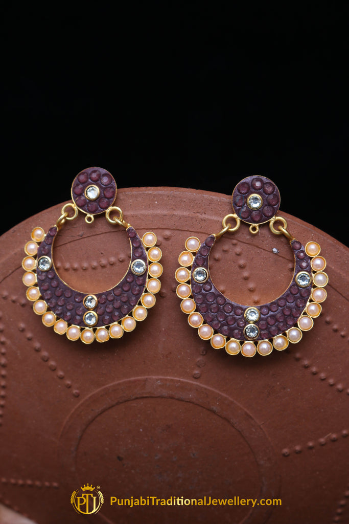 Pearl Purple Earrings By Punjabi Traditional Jewellery