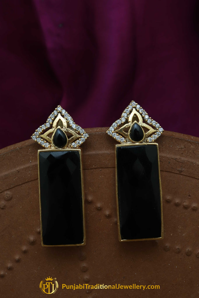 Gold Finished Black Earrings By Punjabi Traditional Jewellery