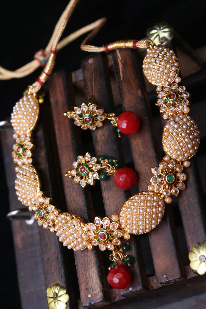 Lihaaz Maroon & Green Necklace Set By Punjabi Traditional Jewellery