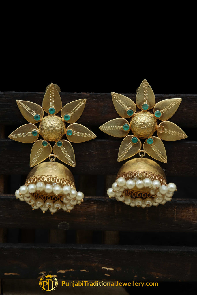 Gold Finished Emerald Jhumki Earrings By Punjabi Traditional Jewellery