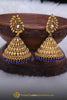 Antique Gold, Jhumki & Polki Blue Earrings By Punjabi Traditional Jewellery