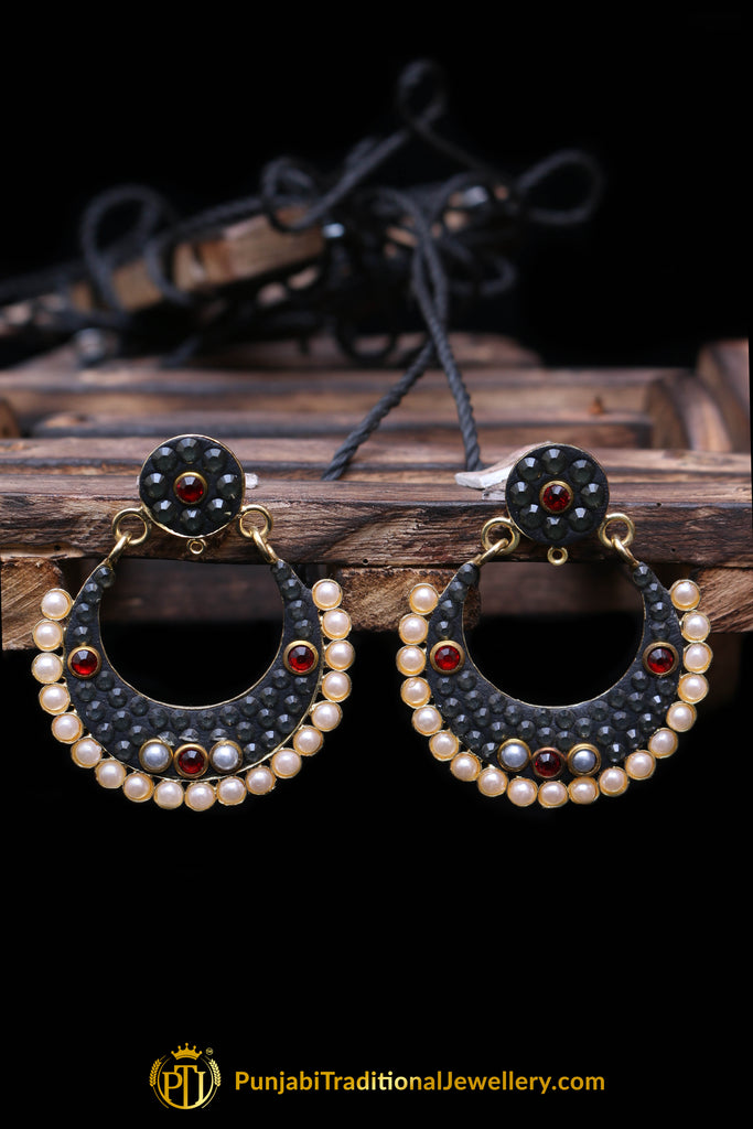 Red & Gray Pearl Earrings By Punjabi Traditional Jewellery