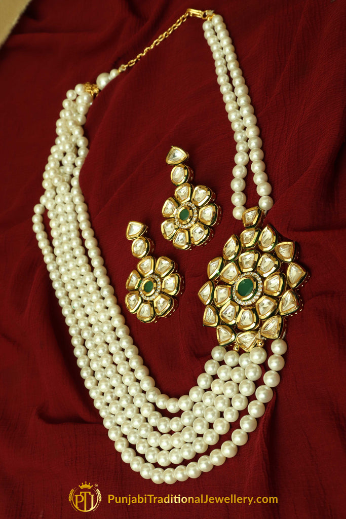 Green Kundan & Pearl Mala Necklace Set By Punjabi Traditional Jewellery