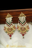 Red Green Jadau Pearl Jhumar Earrings By Punjabi Traditional Jewellery
