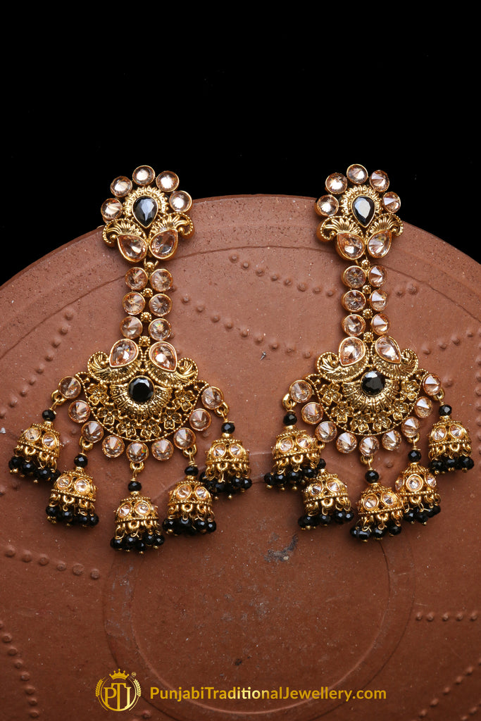 Champagne Stone Earrings By Punjabi Traditional Jewellery