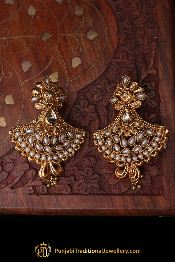 Polki White Earrings By Punjabi Traditional Jewellery