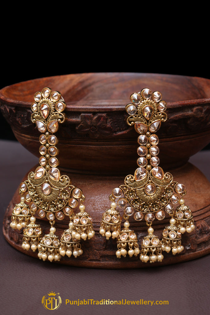 Aksh Champagne Stone Earrings By Punjabi Traditional Jewellery