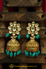 Firozi Jhumki Kundan Earrings By Punjabi Traditional Jewellery