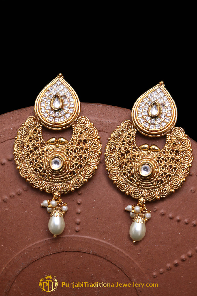 Antique Gold, Pearl Earrings By Punjabi Traditional Jewellery