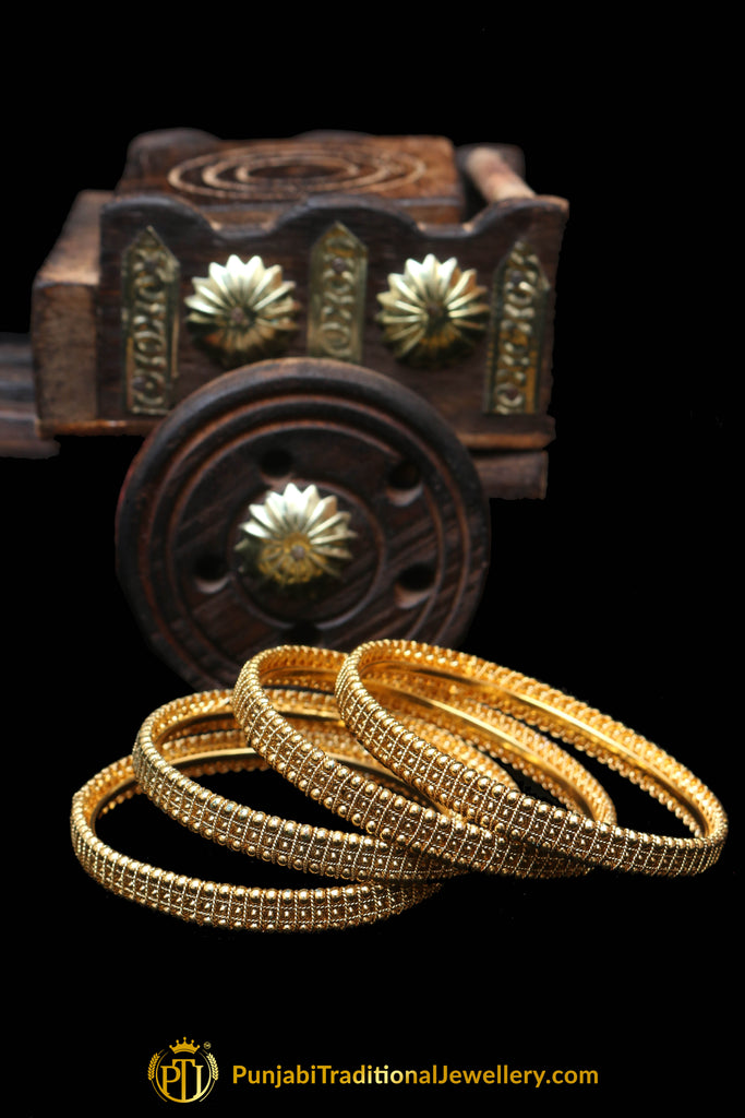 Golden Karra Bangles (Pair) By Punjabi Traditional Jewellery