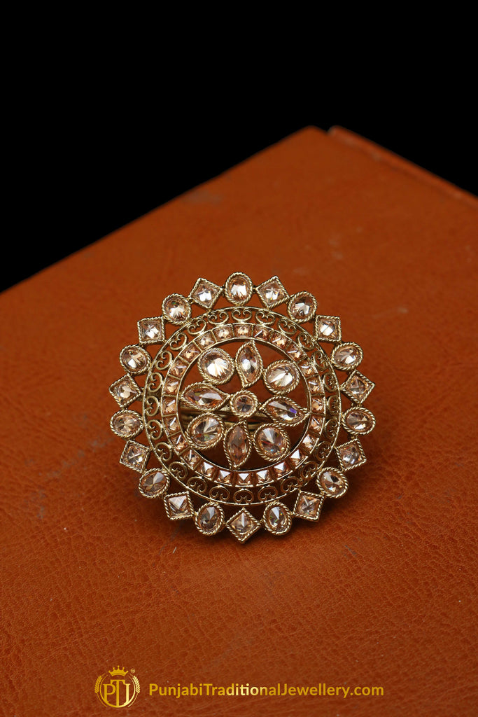 Gold Plated Champagne Ring By Punjabi Traditional Jewellery