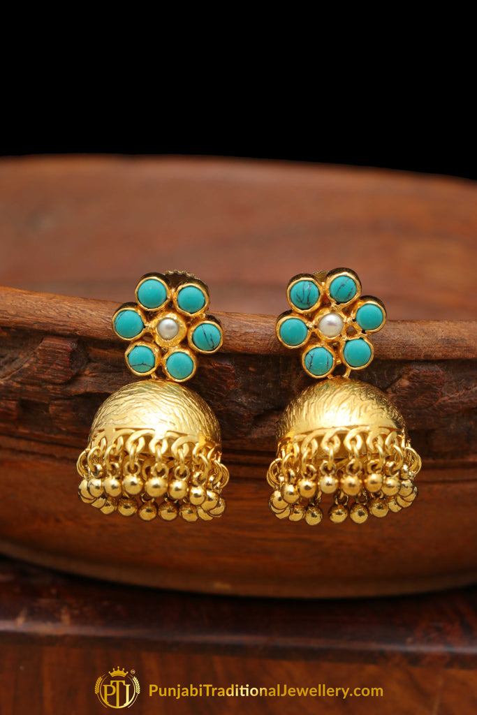 Gold Finished Firoza Stone Jhumki Earrings By Punjabi Traditional Jewellery