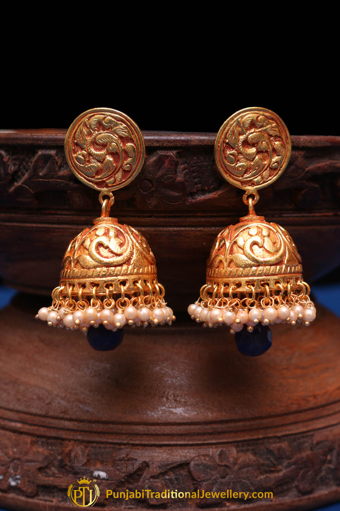 Blue Gheru Polish Jhumki Earrings By Punjabi Traditional Jewellery