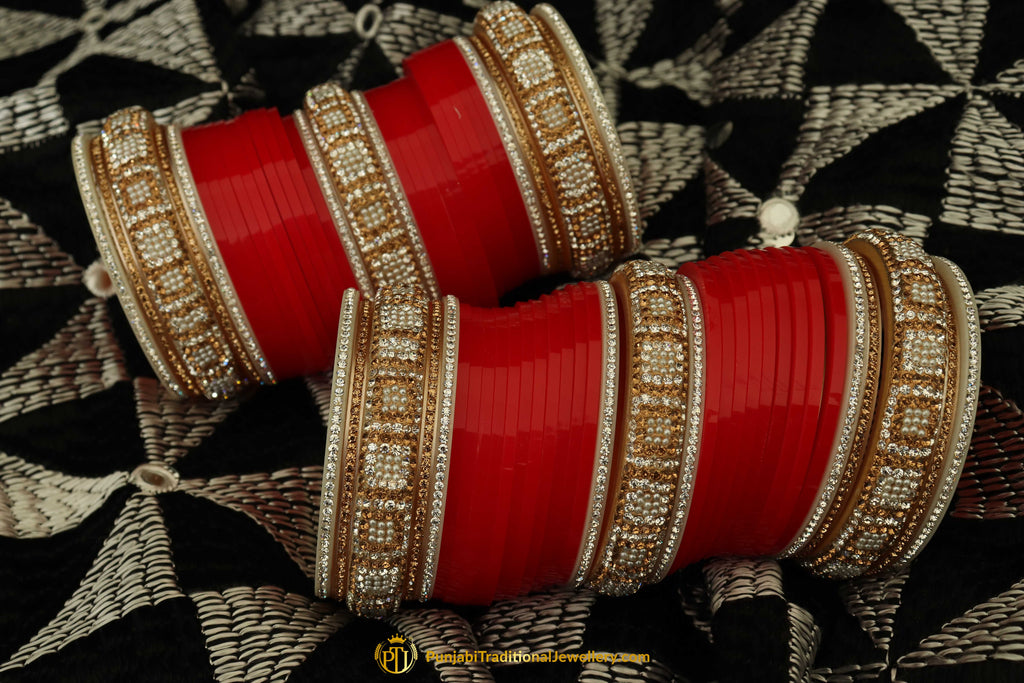 Red Wedding Bridal Chura By Punjabi Traditional Jewellery