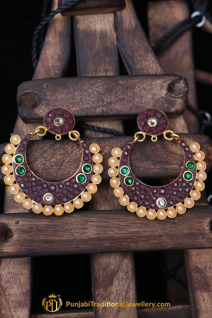 Pink & Green Pearl Earrings By Punjabi Traditional Jewellery