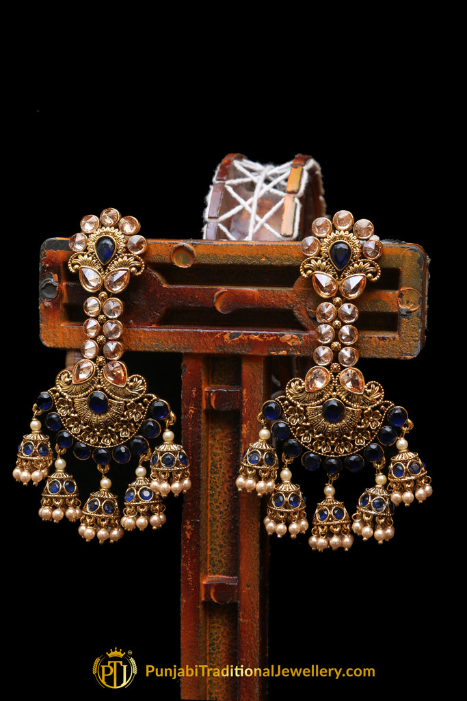 Blue Champagne Stone Antique Gold Earrings By Punjabi Traditional Jewellery