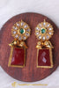 Red Antique Gold Pearl Earrings By Punjabi Traditional Jewellery