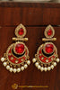 Red Meena & Champagne Stone Earrings By Punjabi Traditional Jewellery