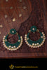 Green Antique Gold With Polki Earrings By Punjabi Traditional Jewellery