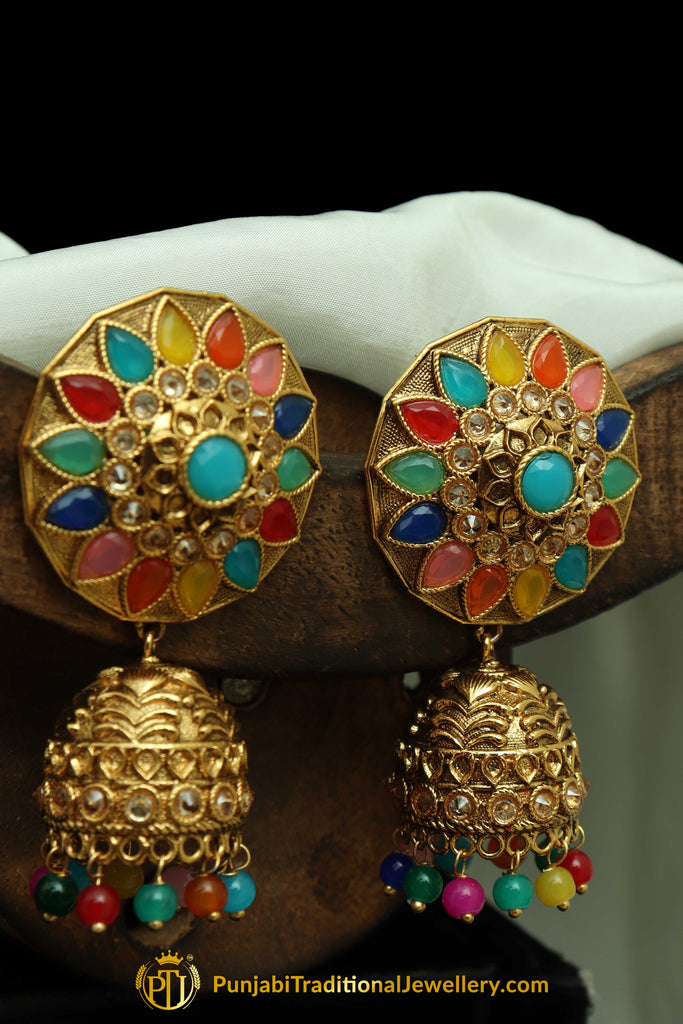 Multi Polki Jhumki Earrings By Punjabi Traditional Jewellery