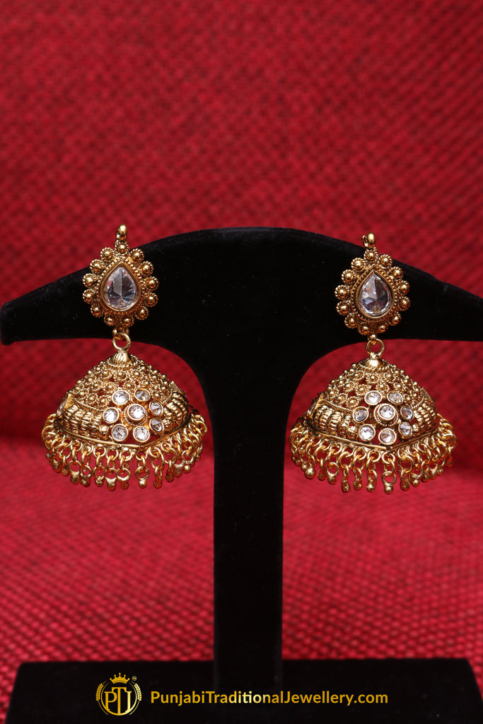Pearl, Jhumki & Antique Gold Earrings By Punjabi Traditional Jewellery