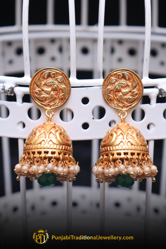 Green Antique Gold, Jhumki & Pearl Earrings By Punjabi Traditional Jewellery