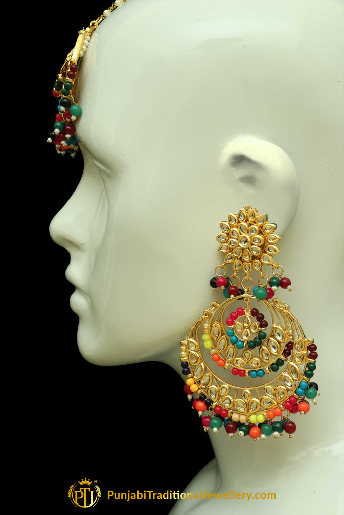 Multi Kundan Earring Tikka Set By Punjabi Traditional Jewellery