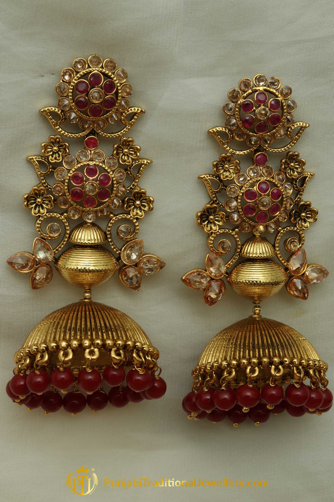 Red Gold Plated & Jhumki Earrings By Punjabi Traditional Jewellery