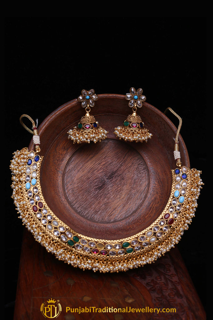 Multi Polki Nacklace Set By Punjabi Traditional Jewellery