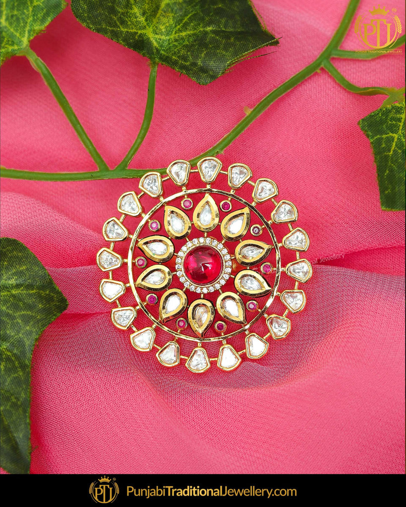 Gold Finished Rubby Kundan Ring | Punjabi Traditional Jewellery Exclusive