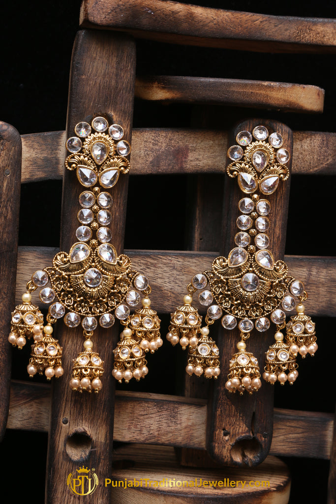 Golden Champagne Stone Earrings By Punjabi Traditional Jewellery