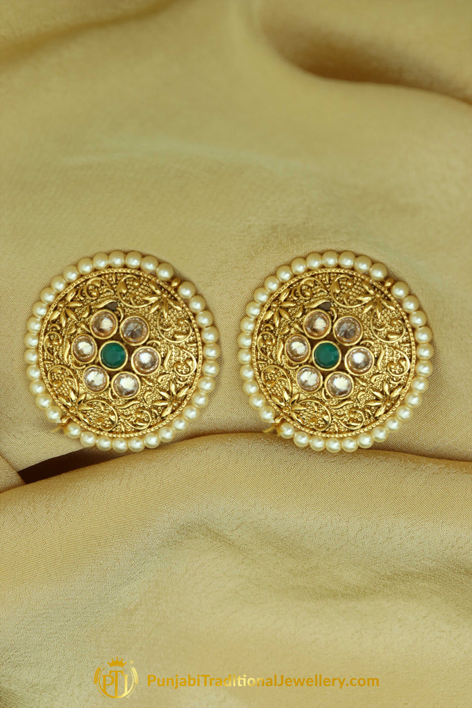 Polki Pearl Stud Earrings By Punjabi Traditional Jewellery
