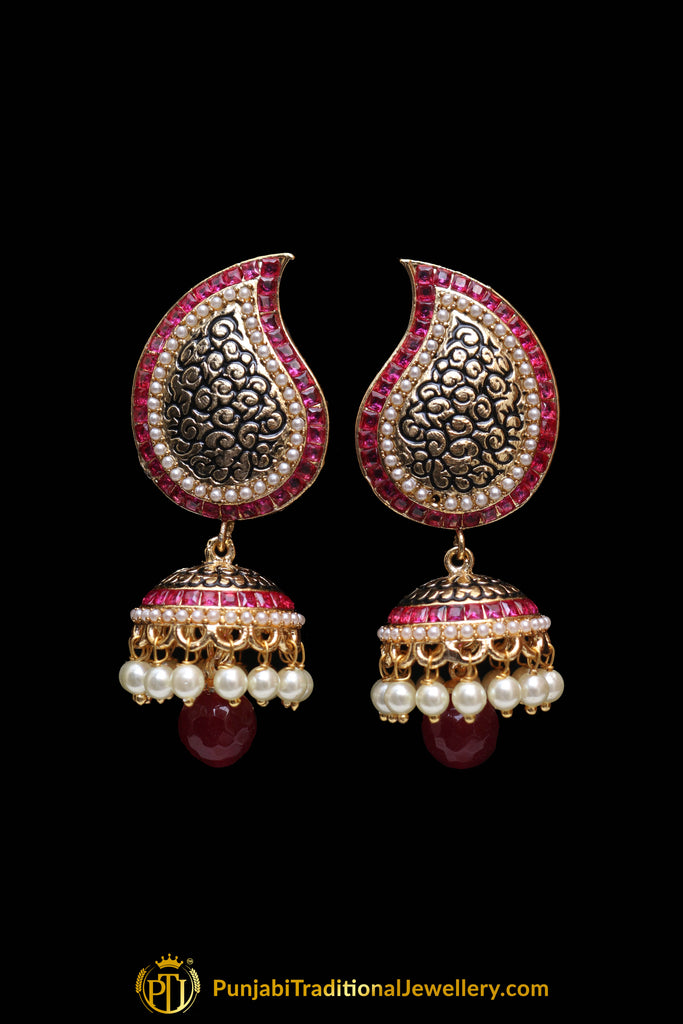 Red Antique Gold Jhumki Pearl Earrings By Punjabi Traditional Jewellery