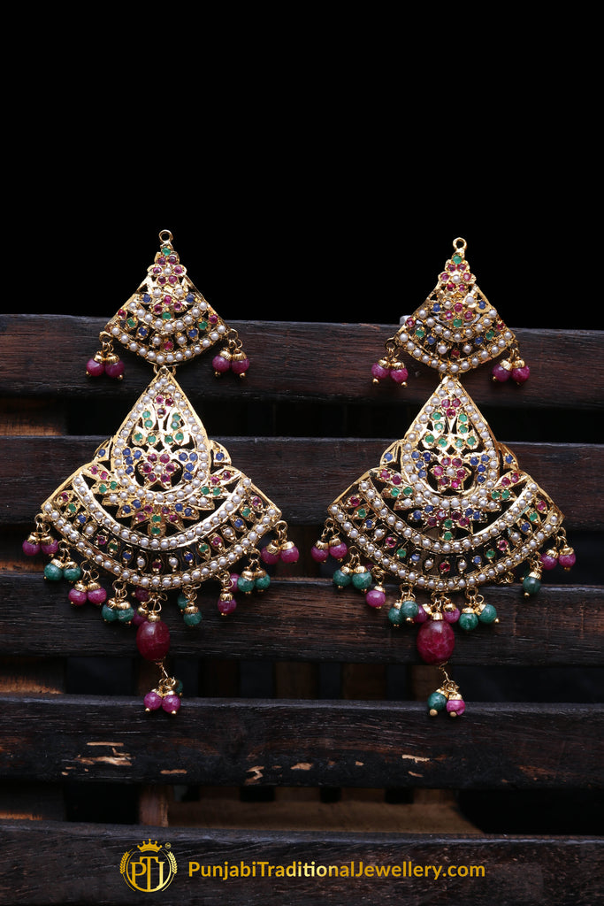 Asvi Rani Green Jadau Earrings By Punjabi Traditional Jewellery