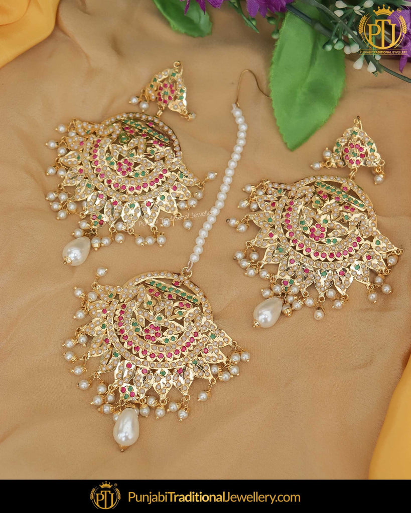Gold Finished Multi Jadau Earring Tikka Set | Punjabi Traditional Jewellery Exclusive