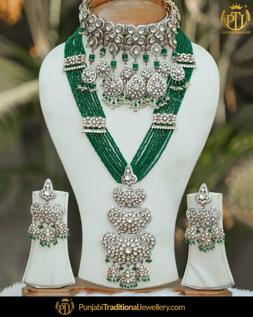 b115dfa6d8d81 Gold Finished Emerald American Diamond Bridal Choker Necklace Set | Punjabi  Traditional Jewellery Exclusive