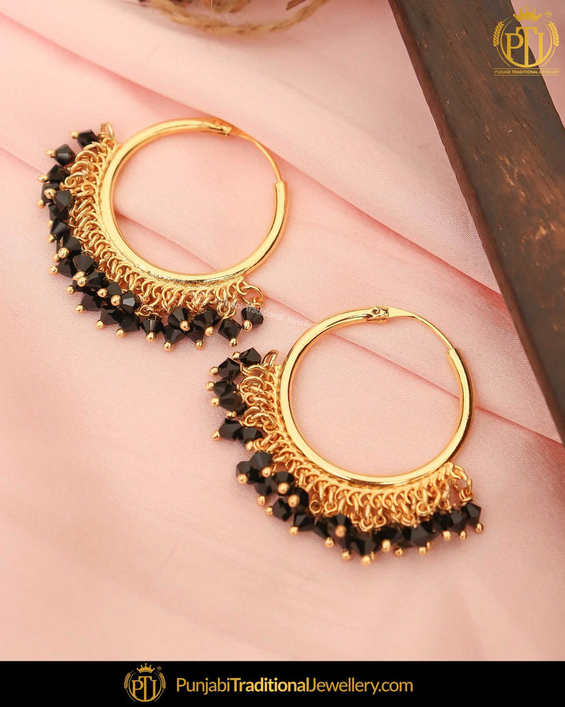 Gold Finished Black Baali Earrings | Punjabi Traditional Jewellery Exclusive