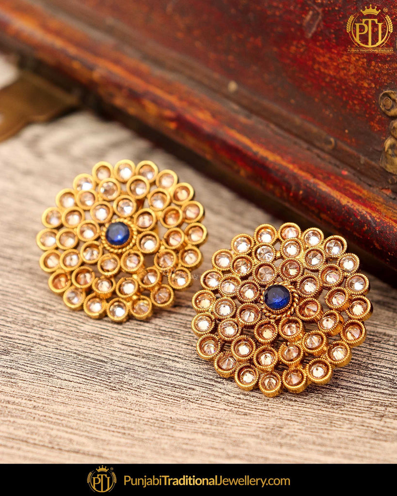 Gold Finished Blue Polki Stone Stud Earrings | Punjabi Traditional Jewellery Exclusive